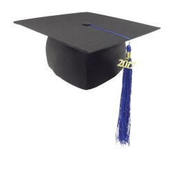 Matt graduation cap - blue tassel